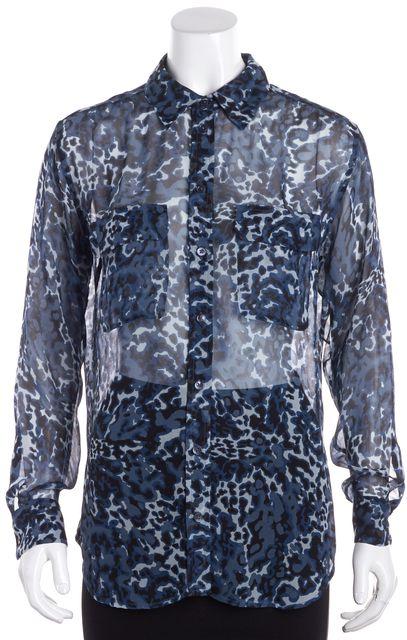 EQUIPMENT Blue Animal Print Sheer Silk Blouse Top