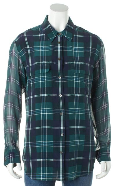 EQUIPMENT Navy Blue and Green Plaid Button Down Blouse