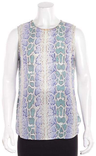 EQUIPMENT Multi-color Green Blue and Ivory Snakeskin Print Tank Blouse