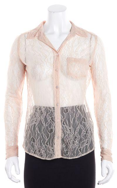 EQUIPMENT Pink Lace Button Down Shirt Blouse