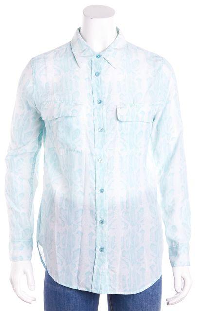 EQUIPMENT Blue & White Abstract Snakeskin Silk Button Down Shirt Blouse