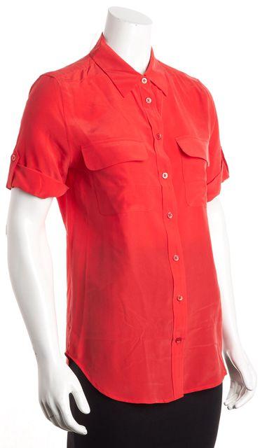 EQUIPMENT Red button Cuffed Short Sleeve Silk Button Down Blouse