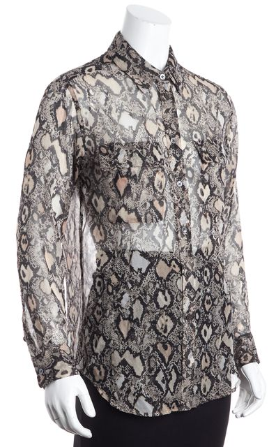 EQUIPMENT Beige Animal Print Button Down Shirt Blouse