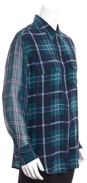 EQUIPMENT Blue & Green Long Sleeve Plaid Silk Button Down Shirt Blouse