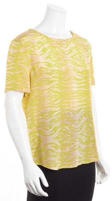 EQUIPMENT Yellow Abstract Silk Blouse Top
