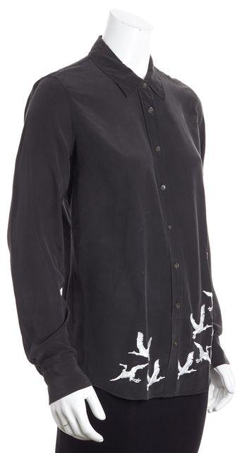 EQUIPMENT Black Abstract Button Down Shirt Blouse