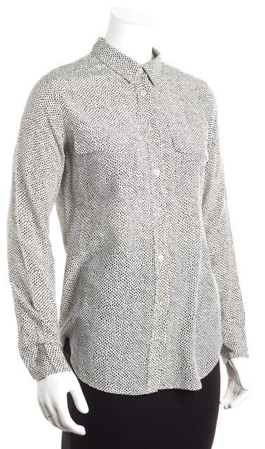 EQUIPMENT White Black Polka Dot Silk Button Down Shirt Blouse