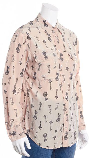 EQUIPMENT Pink Black Silk Lock & Key Detail Button Down Shirt Blouse