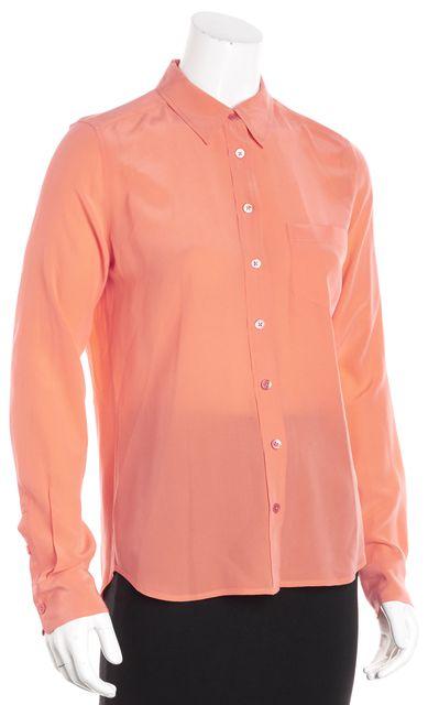 EQUIPMENT Peach Pink Long Sleeve Silk Single Pocket Button Down Blouse