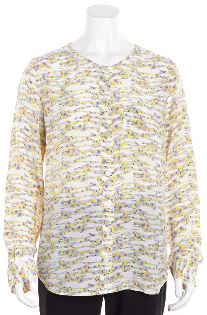 EQUIPMENT Multi-color Abstract Long Sleeve Button-Up Silk Blouse