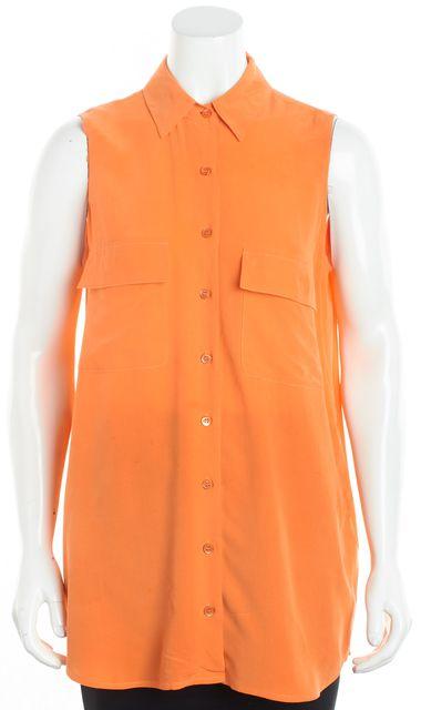EQUIPMENT Tangerine Orange Tank Button Down Blouse