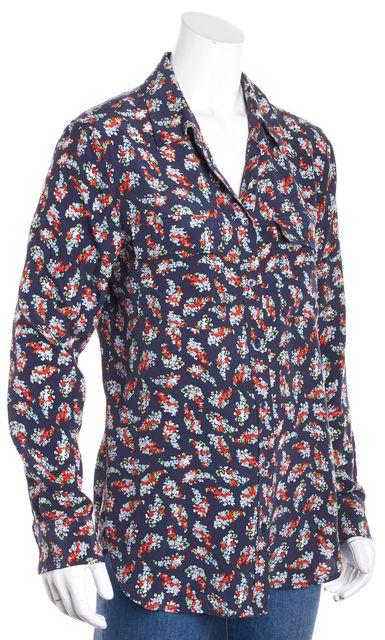 EQUIPMENT Blue Multi-Color Silk Floral Button Down Shirt Blouse