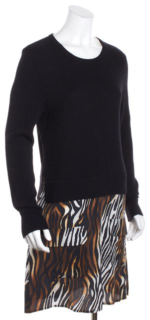 EQUIPMENT Black Animal Print Cashmere Sweater Dress