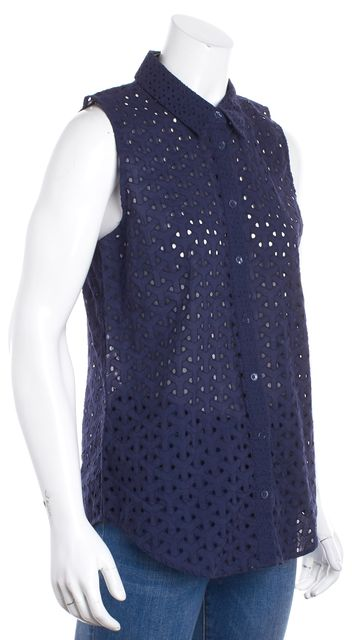 EQUIPMENT Navy Blue Sleeveless Perforated Button Down Blouse