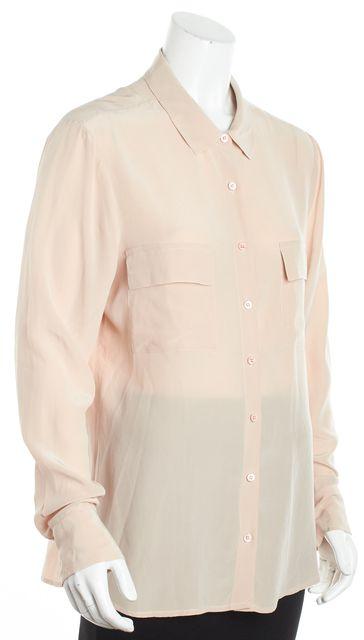EQUIPMENT Light Pink Front Pocket Silk Button Down Shirt Blouse
