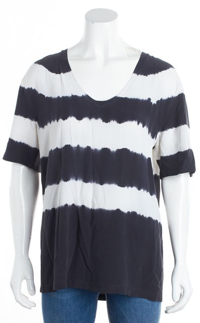 EQUIPMENT Gray/White Striped Silk Blouse Top