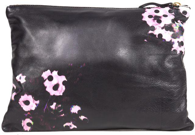 ERDEM Black Purple Green blue Pink Leather Zip Top Medium Clutch Bag