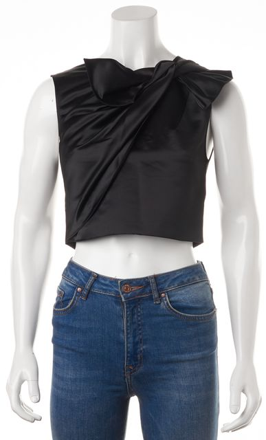 ERIN FETHERSTON Black Draped Sleeveless Cropped Blouse Top