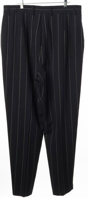 ESCADA Blue White Striped Wool Casual Pleated Career Dress Pants