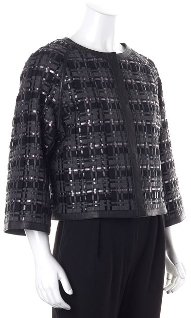 ESCADA Black Gray Plaid Wool Leather Larra Basic Jacket