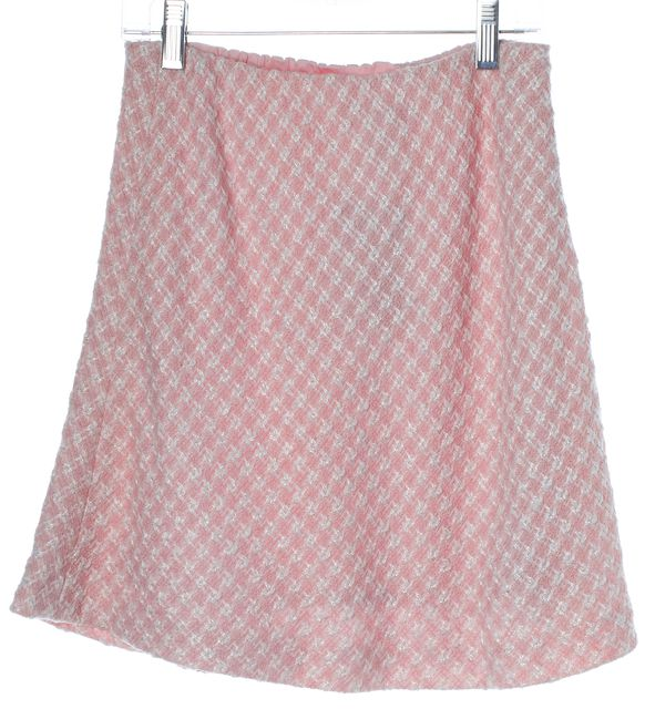 ESCADA Pink White Wool Mini A-Line Skirt