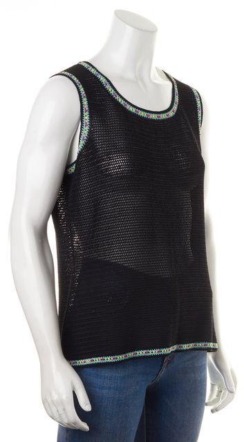 ESCADA Black Sheer Multi-Color Trim Sleeveless Open Knit Top