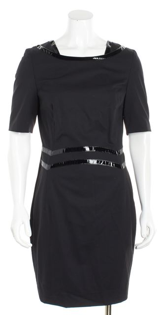 ESCADA Black Wool Patent Leather Trim Sheath Dress