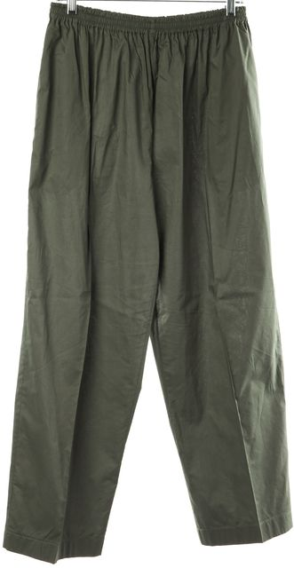 ESKANDAR Olive Green Casual Relaxed Fit Wide Leg Classic Cropped Pants
