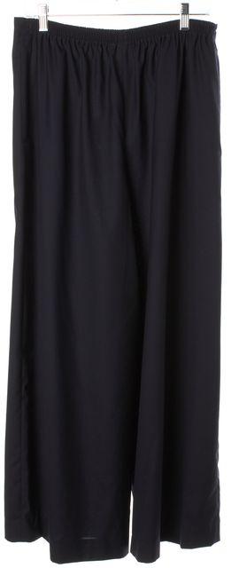 ESKANDAR Navy Blue Wool Silk Wide Leg High Rise Pleated Dress Pants