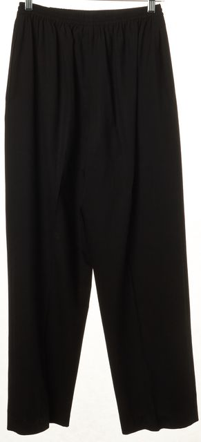 ESKANDAR Black Cropped Pleated Elastic Waist Casual Pants Size 1 US