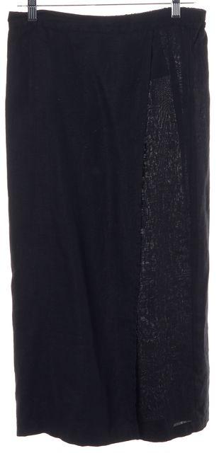 ESKANDAR Black Linen Elastic Waist Mid-Calf Wrap Skirt Size 1 US