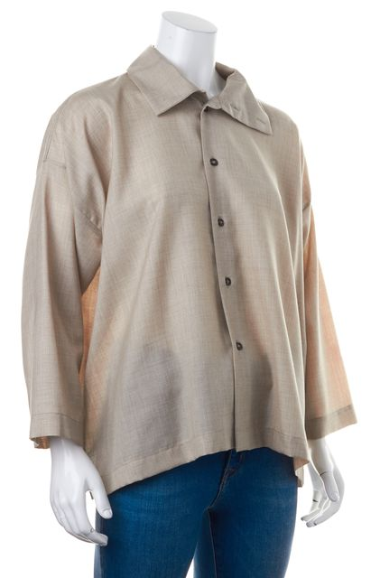 ESKANDAR Beige Dolman Sleeve Oversized Button Down Shirt Top Size 0 US