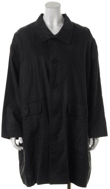 ESKANDAR Black Linen Button Up Oversized Basic Coat