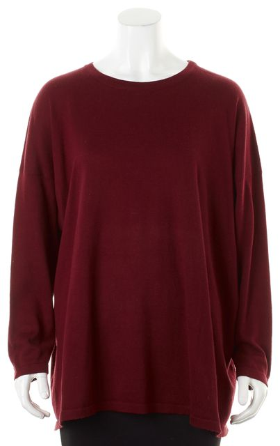 ESKANDAR Cranberry Red Long Sleeve Crewneck Oversized Knit Top
