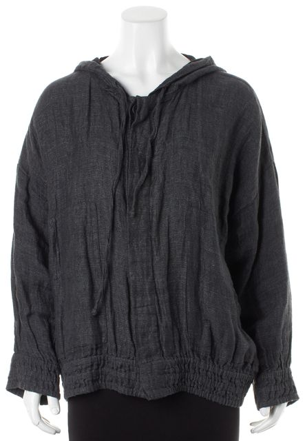 ESKANDAR Gray Linen Oversized Elastic Waist Button Down Jacket