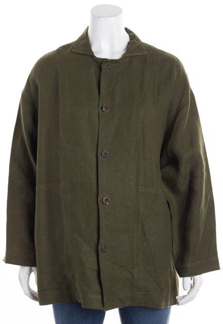 ESKANDAR Green Linen Button Down Long Sleeve Shirt Top
