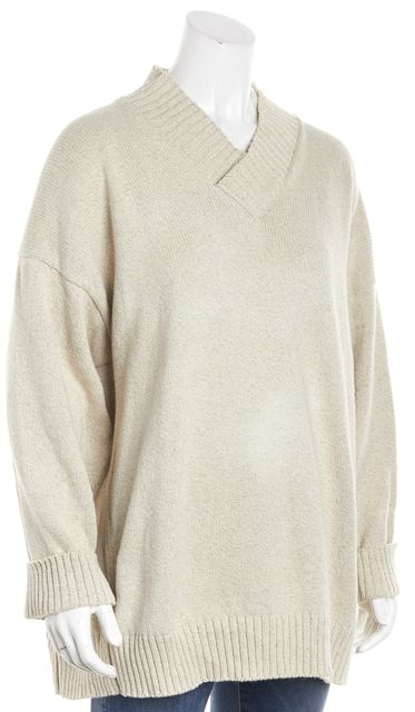 ESKANDAR Beige Long Sleeve Structured V-Neck Sweater