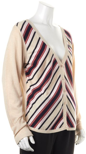 ESCADA SPORT Beige Striped Silk Cardigan