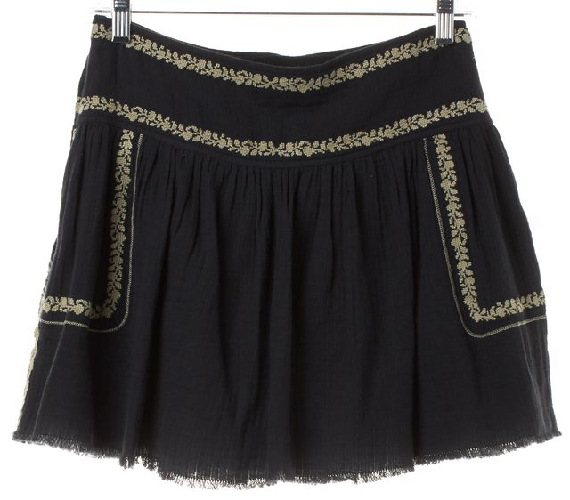 ÉTOILE ISABEL MARANT Navy Blue Ivory Embroidered A-Line Skirt