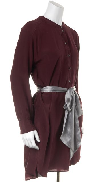 ÉTOILE ISABEL MARANT Maroon Red Silk Belted Tunic Shift Dress