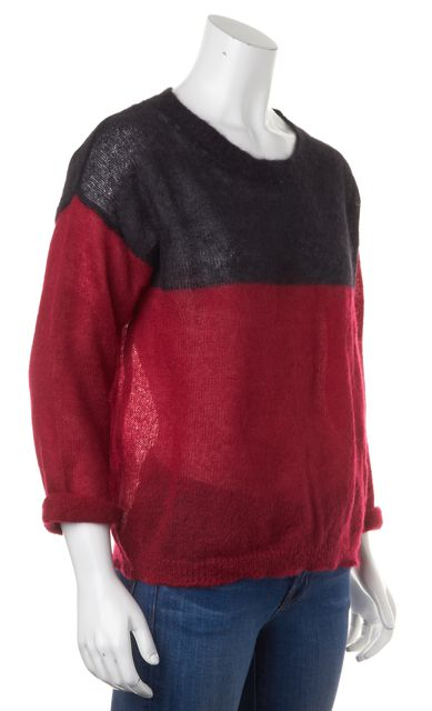 ÉTOILE ISABEL MARANT Red Black Colorblock Mohair Sweater