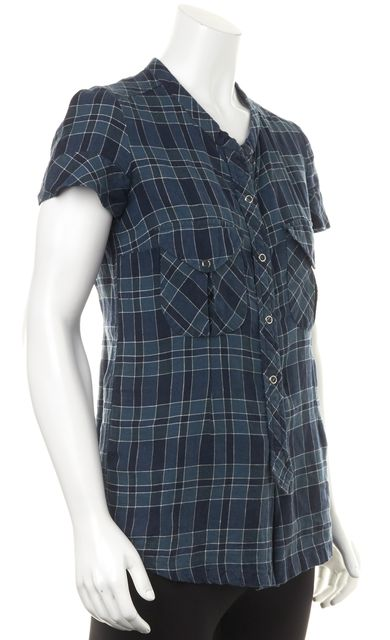 ÉTOILE ISABEL MARANT Navy Blue White Classic Plaid Linen Blouse Top