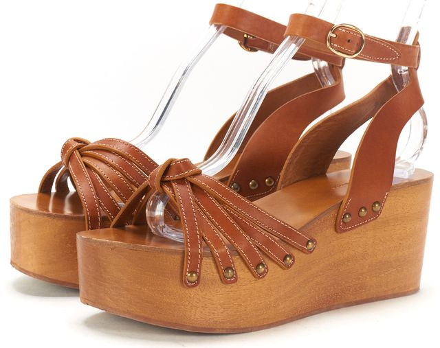 ÉTOILE ISABEL MARANT Brown Leather Open Toe Ankle Strap Wooden Wedges
