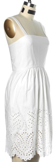 ÉTOILE ISABEL MARANT White Embroidered Cotton Fit & Flare Dress