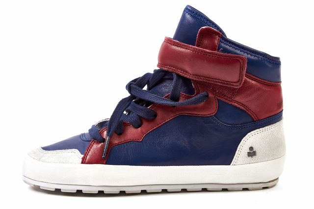 ÉTOILE ISABEL MARANT Blue & Red Leather Grey Suede Bessy High Top Trainers