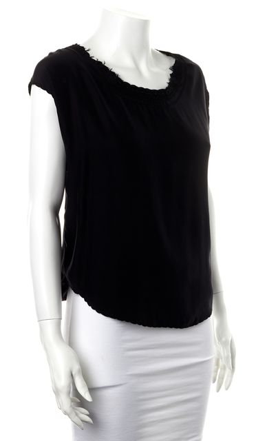 ÉTOILE ISABEL MARANT Black Silk Scallop Trim Sleeveless Blouse
