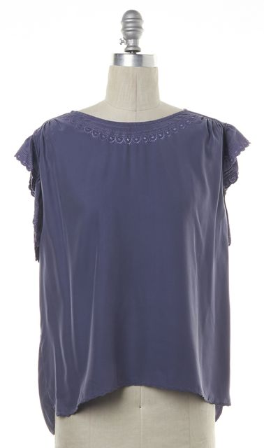 ÉTOILE ISABEL MARANT Purple Embroidered Silk Sleeveless Blouse Size 1 US