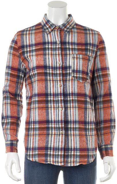 ÉTOILE ISABEL MARANT Red Blue Plaid Linen Button Down Shirt Top