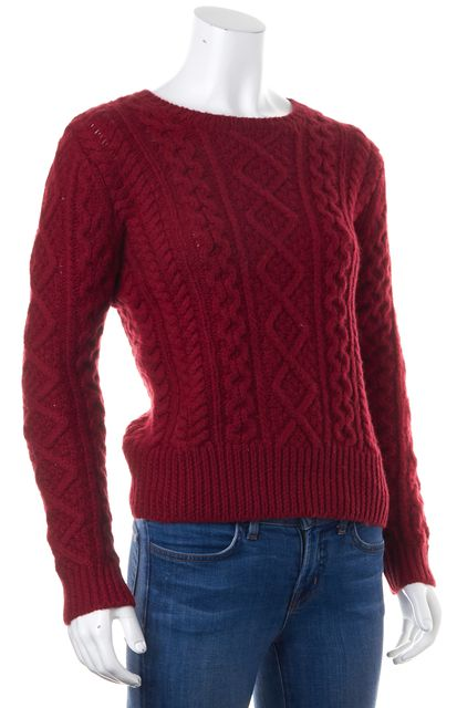 ÉTOILE ISABEL MARANT Burgundy Red Wool Chunky Knit Crewneck Sweater