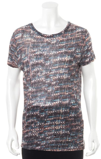 ÉTOILE ISABEL MARANT Multi-Color Abstract Printed Linen Basic Tee T-Shirt